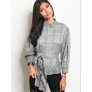 Tops - 'Can't Lose' Grey Plaid Mock Neck Belted Top